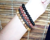 Jasper, Obsidian and Wood Stacked Stone Bracelet