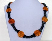 Black Obsidian, Natural Seeds and Amber colored beads Fall Necklace - FREE SHIPPING - 048