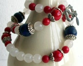 Red Coral, White Snow Quartz and Blue Lapis Lazuli Necklace - FREE SHIPPING - 029
