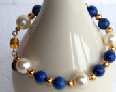 Lapis Lazuli and Pearl Bracelet - FREE SHIPPING - Item 050