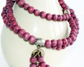 Wrist Wrap Mala Mauve with Vintage Coin Charm - FREE SHIPPING - Item 051