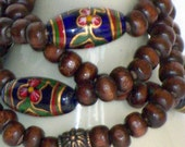Blue Glass and Brown Wood Bead 108 Wrist Wrap Mala - Free Shipping - Item 056