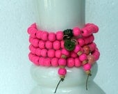 Pretty Pink Mala 108 wood beads with porcelain round beads - FREE SHIPPING - Item 037