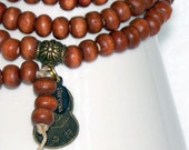 Medium Brown 108 wood Mala with Carved Bone counters - FREE SHIPPING - MySirenaDesigns