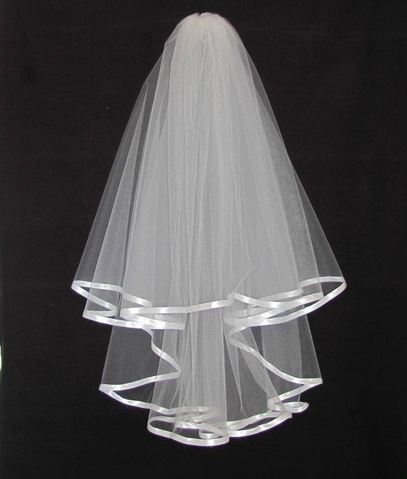 White Wedding Double Layer Cascade Veil Trimmed in White Satin Ribbon