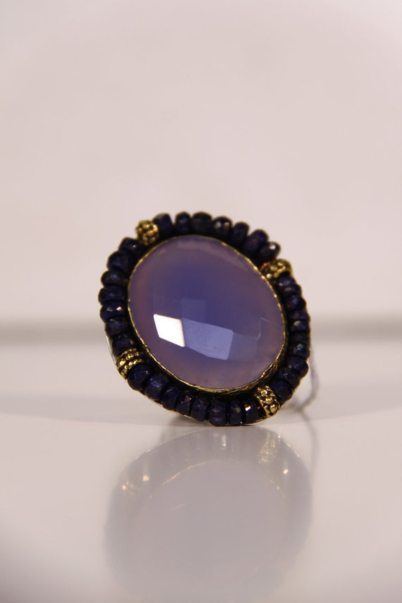 SALE and FREE U.S. Shipping: Purple Moonstone Futuristic Amethyst Beaded Cocktail Ring