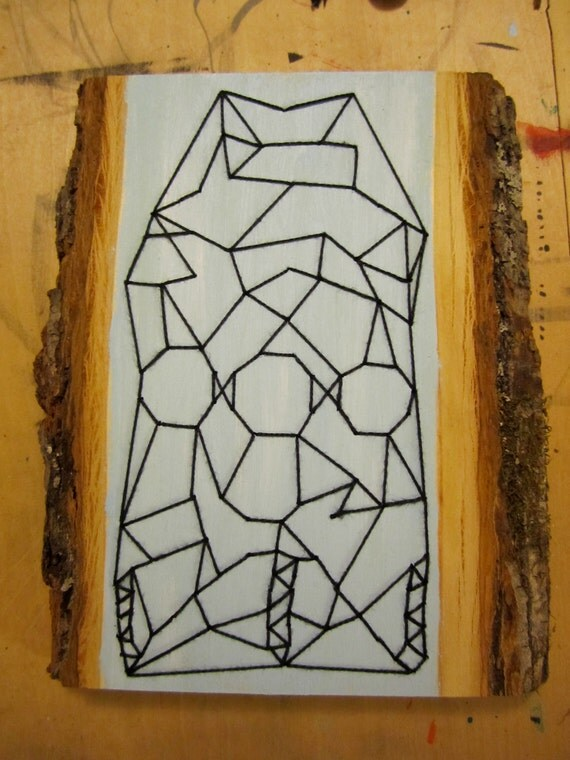 Geometric Embroidery on Tree Branch (Wall Decor)