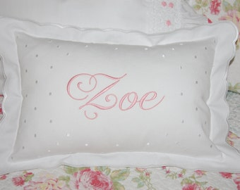 Monogrammed White Scalloped Baby Pillow