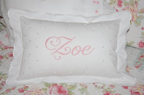 Monogrammed White Scalloped Baby Pillow