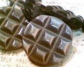 7 Vintage Carved Gray Plastic Buttons Quilted Look 3/4 Inch 19mm Sewing Buttons