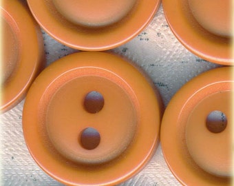 20 Small Vintage Pumpkin Orange Plastic Sewing Buttons ~ 7/16 Inch or 11mm