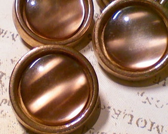 5 Vintage Gold Metal Buttons Pearlized Brown Inset 3/4 Inch 19mm Sewing Buttons