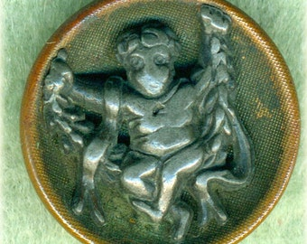 Sweet Antique Picture Button ~ Cherub on a Swing ~ 3/4 inch 18mm ~ Lead Pewter design on Brass Cup ~ Pictorial Metal Sewing Button
