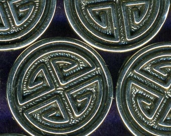 30 Oriental Knot Silver Metalized Plastic Sewing Buttons 5/8 inch 15mm