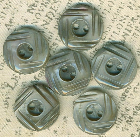 6 Vintage Tinted Gray Carved Mother of Pearl Shell Buttons 5/8 Inch 16mm