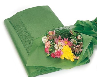"""10 Large Sheets Green Waxed Floral Tissue Paper for Flowers Gifts Wrapping 24x36"""" (Free Shipping!)"""