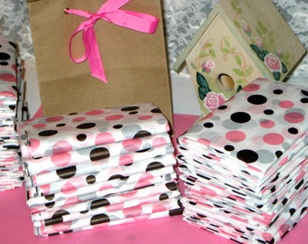"10ct. Sheets of Neapolitan Polka Dot Tissue Paper for Gift Bags 20x30"" Pink, Chocolate Brown, White (Free Shipping!)"