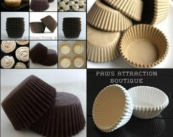 75 Assorted STANDARD SIZE Cupcake Muffin Liners Baking Cups Brown White Wrappers (Free Shipping!)