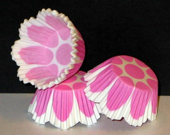 50 Tulip Scalloped Pink & White Cupcake Liner Baking Cup STANDARD SIZE