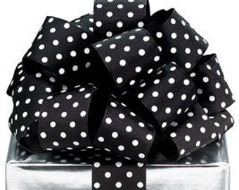 "5YDS Grosgrain Ribbon 1-1/2"" Wired Edge Black & White Polka Dot Spots (FREE SHIPPING!)"