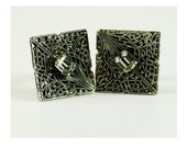 Filigree Cuff Links with Clear Crystal