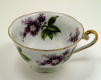 Vintage Lefton China Cup Purple Floral
