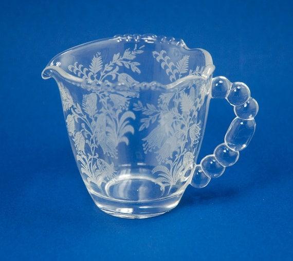 SALE Vintage Tiffin-Franciscan Crystal Glass Creamer Fuchsia SALE
