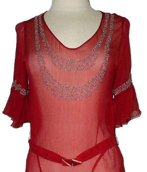 Vintage Jean Patou beaded dress in red silk with beading 1920s flapper 20s French