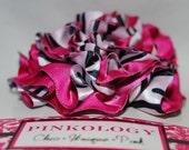 ELLA-Hot Pink Zebra Large Ruffled Rose Clip-Great Photo Prop