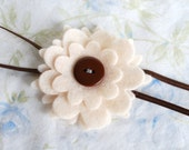 Simply Sweet Felt Flower, Button Center, Skinny Baby Headband, Cream and Chocolate, 3-6 months