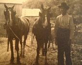 Antique Photograph-Farmer and Horses