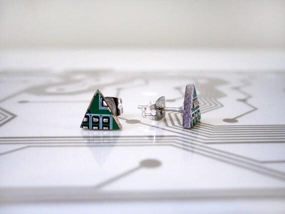 Triangle Circuit Board Earrings - Green - Cyborg Series