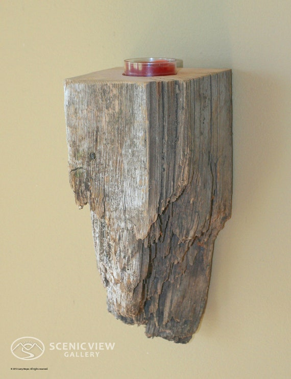 Tea light candle holder wall sconce made of reclaimed rustic fence post  -  Wood Metal Brown Barn Post Rust Old by LMeyer