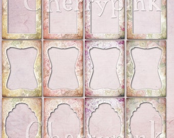 Clip Art Frame, 12 Shabby Chic style PNG File digital frames, great for scrapbooking and digital projects
