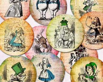 Alice in Wonderland 1 inch circles, digital collage sheet, Vintage shabby chic style for pendants, magnets, scrapping, craft supply.