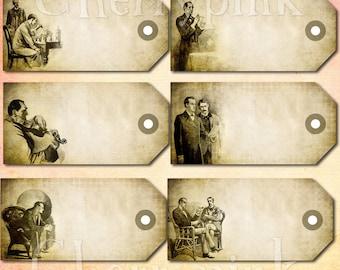 6 Sherlock Holmes Vintage Tags, digital tags, scrapbook tags, scrapbook supplies digital download printable
