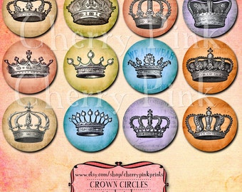 Crown circles, one inch round image, jewellery digital collage sheet, bottle cap images, crown sticker pendent images, instant download
