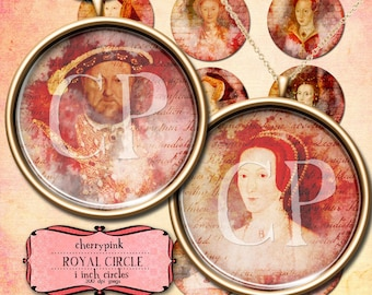 1.5 inch circle digital download, Tudor Circles Digital Collage Sheet Printable round images for pendants, buttons, magnets and decoupage.