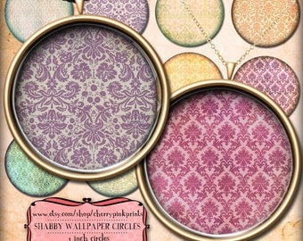 1 inch circle digital downloads, SHABBY DAMASK digital collage sheet,  for pendants, magnets, scrapping, craft supply.