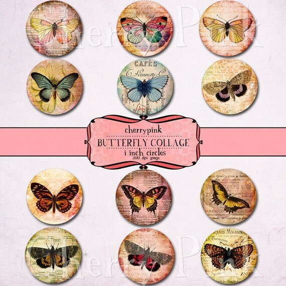 1 inch circle Butterfly digital collage sheet for pendants, magnets, scrapping, craft supply.