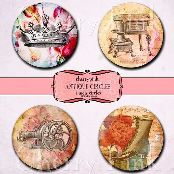 1 inch circle digital download VINTAGE OBJECTS,  Digital Collage Sheet,  printable images for pendants, magnets, scrapping, craft supply.