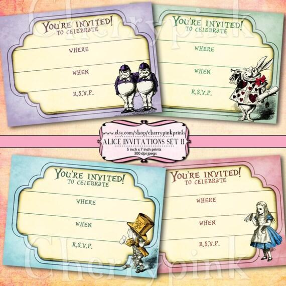 Alice in Wonderland Invitations, 4 printable invitation, digital download party printable