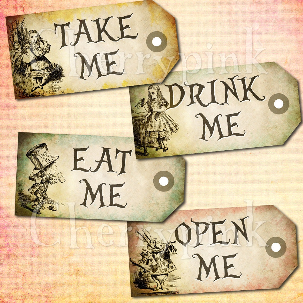 Alice in wonderland vintage tags set 2 alice by for Alice in wonderland tags template