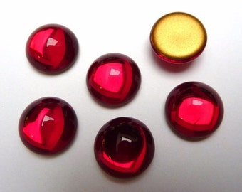 6 glass  cabochons, Ø12mm, siam red, round