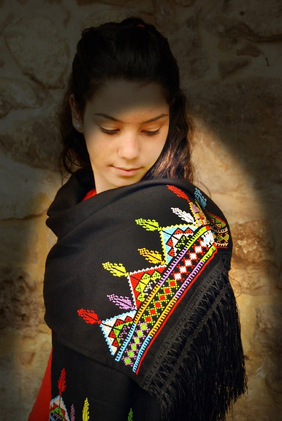 Multi-coloured scarf  with cross stitch embroidery