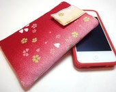 iphone case - iphone cover - ipod touch case - fabric cover case sleeve Japanese Kimono cotton fabric cherry blossoms red