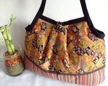 Kimono Purse Japanese Cotton Bag Granny bag purse flowers cherry blossoms chrysanthemum ocher