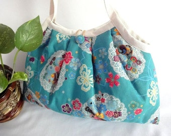 Japanese Kimono Pattern Granny bag purse flowers doily turquoise