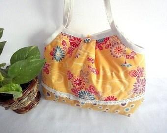 Retro Kimono shoulder Bag Kimono Cotton fabric chrysanthemum dark yellow