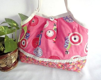 Japanese Kimono Pattern Granny bag purse Maiko umbrella pink